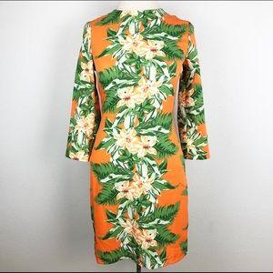 ASOS SZ 2 orange floral midi dress 3/4 sleeve